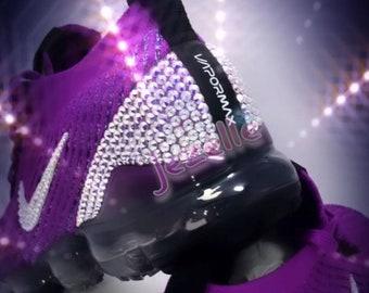 PURPLE Nike Air VaporMax Flyknit 3 - Women's BLING Nike Air VaporMax Flyknit 3 - Custom Bling Nike Shoes