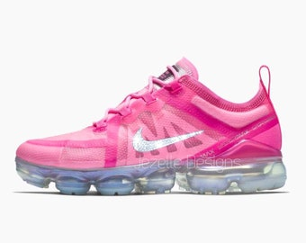 Swarovski Nike Air VaporMax 2019 Shoes Customized with Swarovski Crystals -  Psychic HOT Pink! Bling Nike Shoes 6950b2de87b1