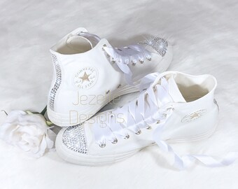 0c274e923a9c Bling Ivory Wedding Converse - Genuine Swarovski Crystals on Toes and Heels  - Custom Hand Jeweled Hi Top Chucks - Bridal Party Shoes