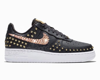 630217eaed391 Swarovski Nike Air Force 1  07 XX Women in Premium Black Leather