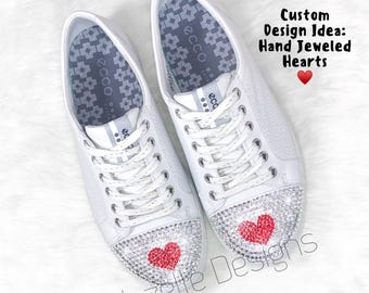 055fcef28879 Bling Wedding Converse -Swarovski Crystals - White Bedazzled Converse  Bridal Shoes Hand Jeweled