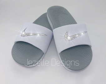 188302599 Bling Nike SolarSoft Slide Sandals Custom Hand Jeweled w  Genuine Swarovski  Crystals - Bling Slides - Swarovski Slides - Bling Nike Shoes