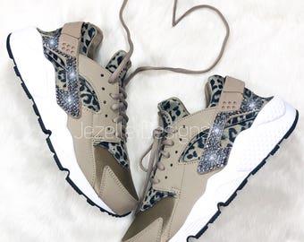 Swarovski Nike Air Huarache Run Ultra Animal Print Design! Bling Nike Shoes  w  Leopard Print 651fb024f