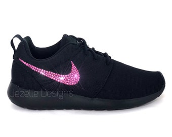f456de6de11ce Swarovski Nike Roshe One Shoes Blinged Out with Swarovski Crystals -  Black Black Pink Swoosh