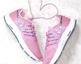 Bling Nike Shoes in Pink - Nike Run Swift - Women s Nike Swarovski Shoes - Glitter  Kicks Nike - Bling Sneakers by Jezelle Designs b065848e50