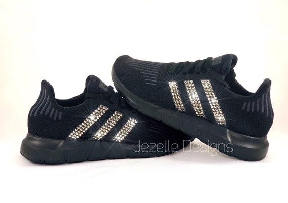 04bf62c9bbb57 SIZE 6.5 Gold Swarovski Adidas Swift Run in Black Customized