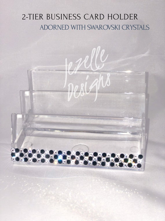 Swarovski Visitenkartenhalter Custom Hand Jucket Acryl Clear Business Card Holder Mit Echten Swarovski Kristallen Mit Jezelle Designs