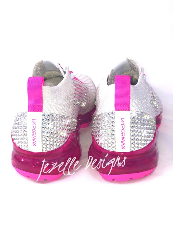 the best attitude 6c56a 708e8 Ships FREE! NEW VaporMax Flyknit 3 - Swarovski Nike Women's Air VaporMax  Flyknit 3 in white/hot pink Customized Bling Nike Shoes