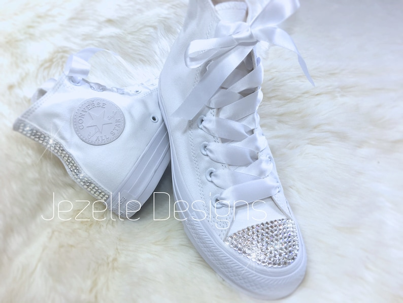 f23cd9ee7 Bling Wedding Converse Hi Tops Custom Hand Jeweled w  Genuine