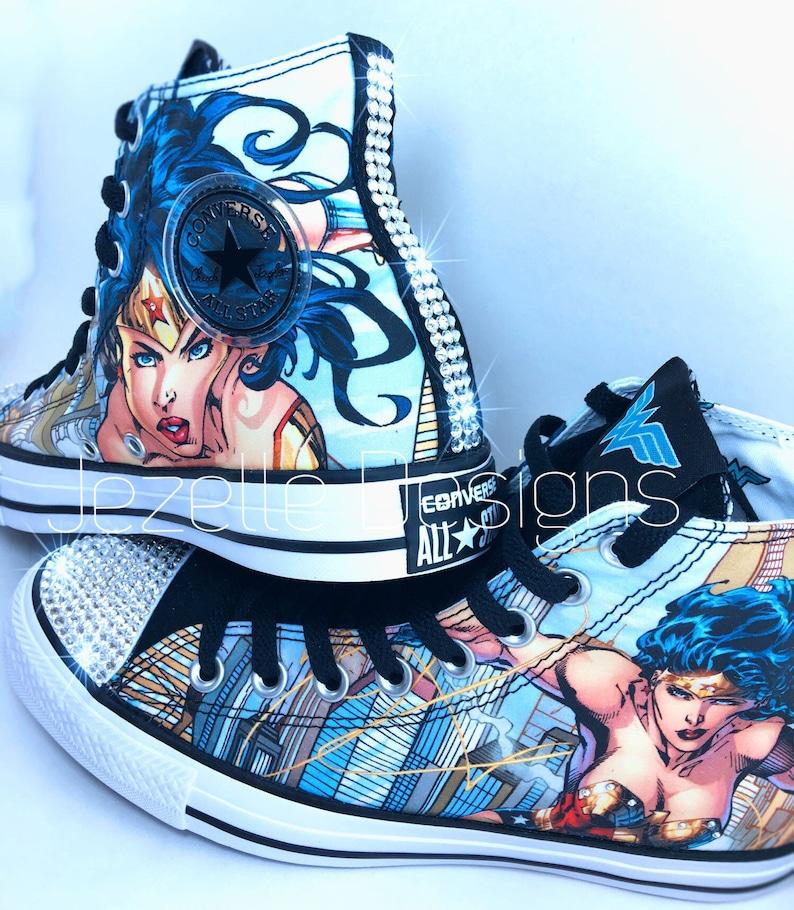 eed917f6b4d6 Ready to Ship Wonder Woman Bling Converse Women s