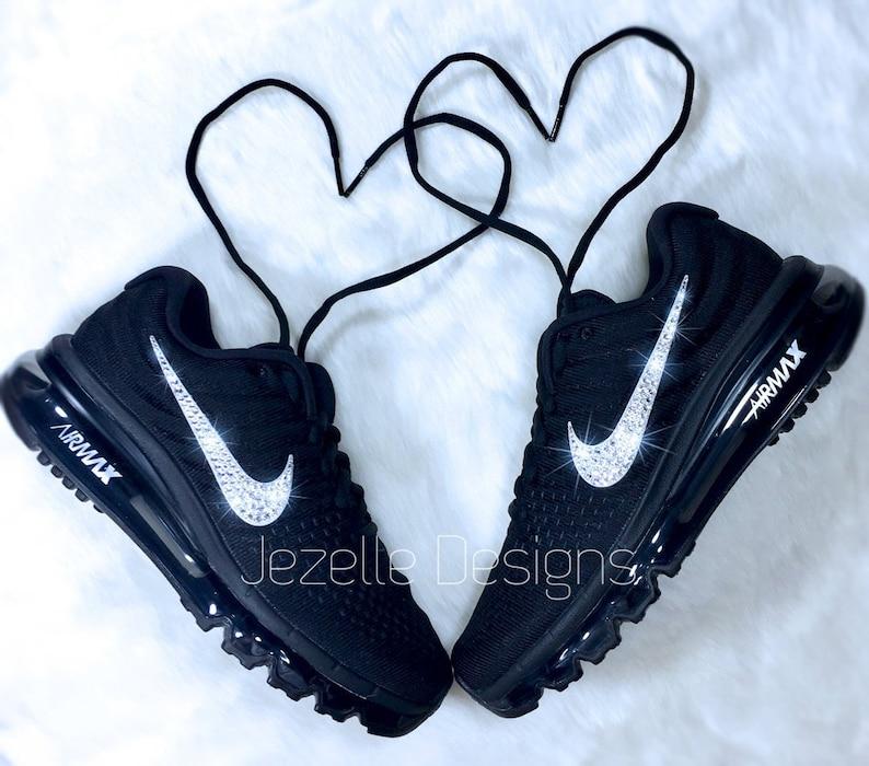 Swarovski Nike Bling Air Max 2017 Black Customized With  92c9ce417fee