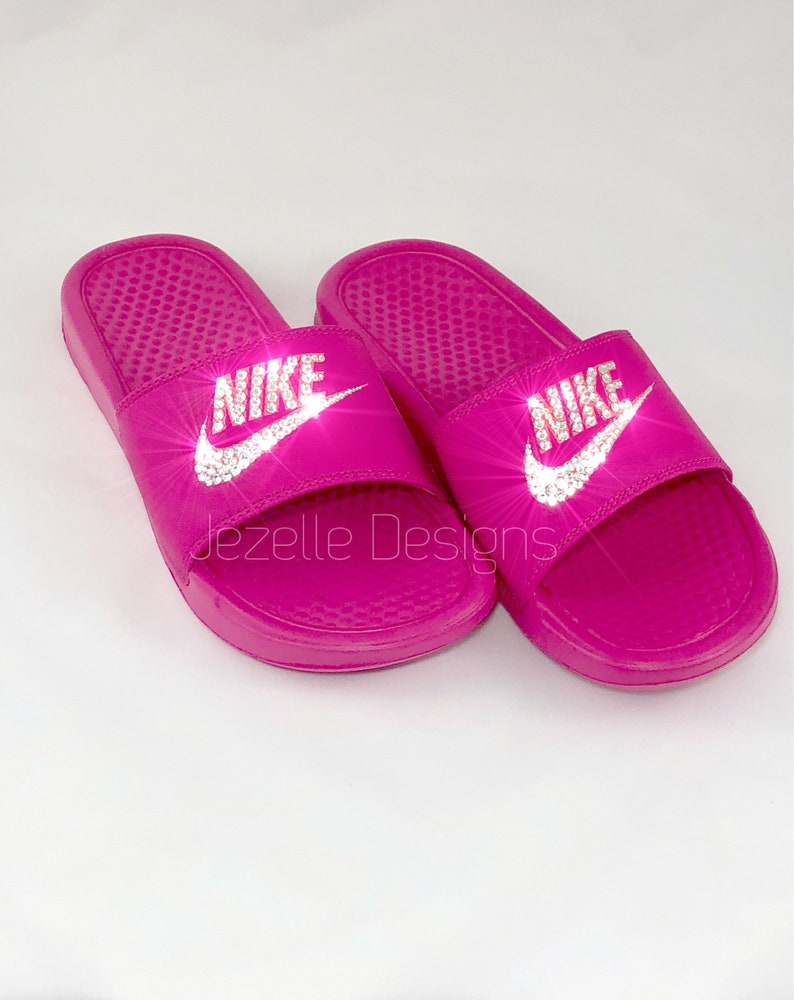 65f66ced704f Swarovski Nike Slide Sandals Custom Hand Jeweled with Genuine