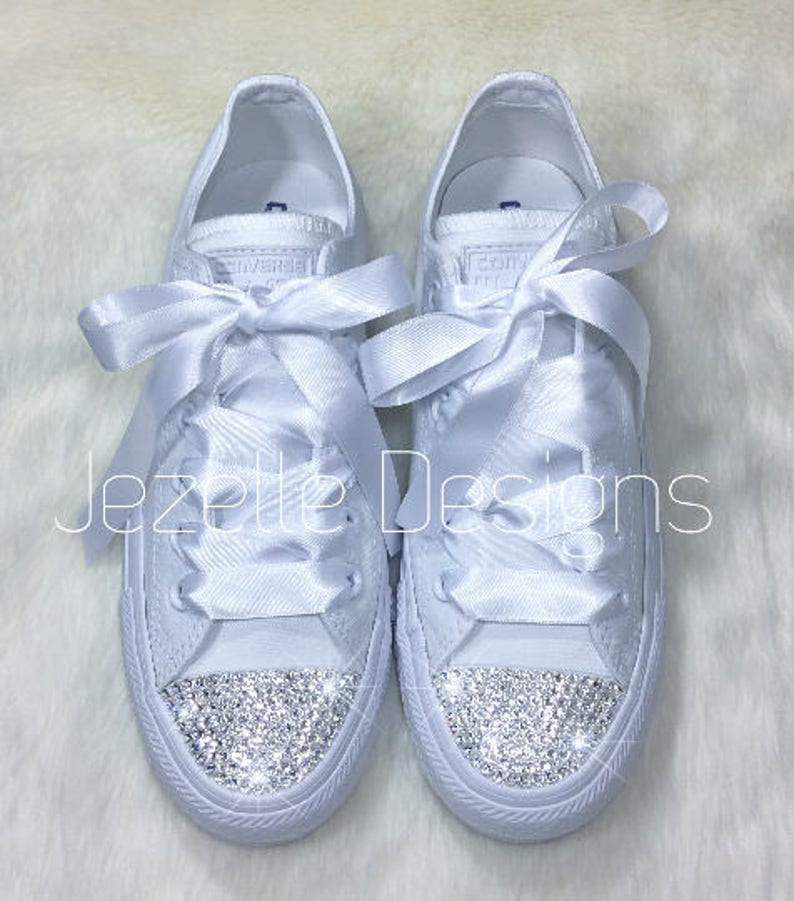 e3313ad0c Bling Wedding Shoes ALL WHITE Wedding Converse Hand