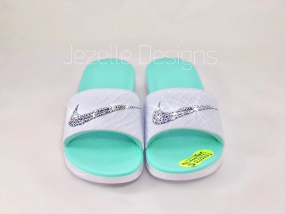 e92efe4dbfac9d NEW Nike SolarSoft Slide Sandals Custom Hand Jeweled w