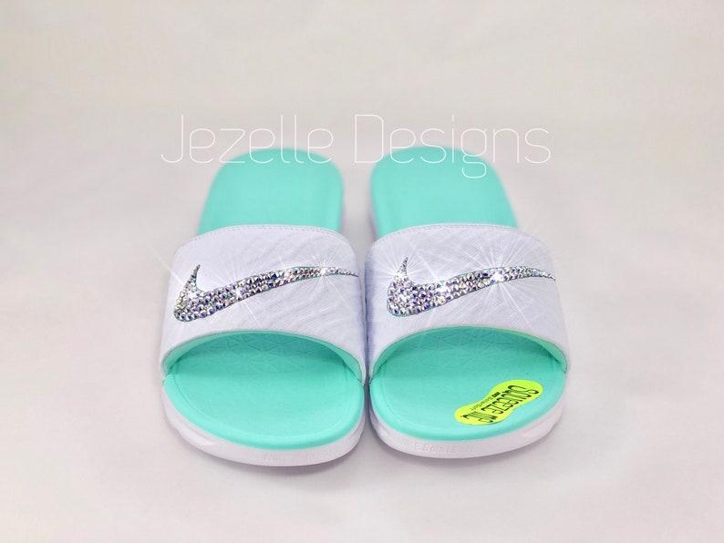 6ef69e6c7443 Swarovski Nike Benassi SolarSoft Slide Sandals Custom Hand