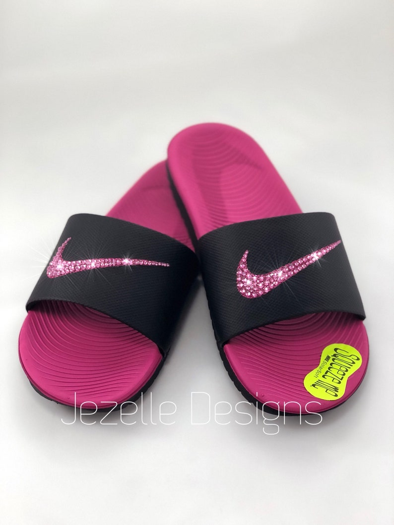 e7677c76b Swarovski Nike Kawa Slide Sandals Custom Hand Jeweled w