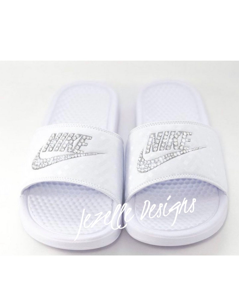buy online 65ed5 fb427 Swarovski Nike Slide Sandals Custom Hand Jeweled with Genuine   Etsy