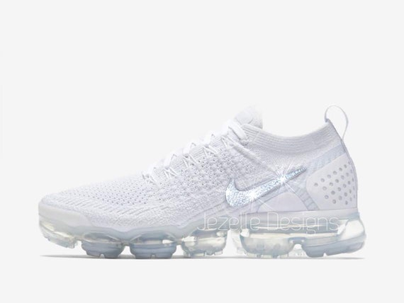 more photos 7717b b438d LIMITED! Swarovski Nike Women's Air VaporMax Flyknit 2 in All White -  Customized With Swarovski Crystals - Bling Nike Shoes Jezelle Designs