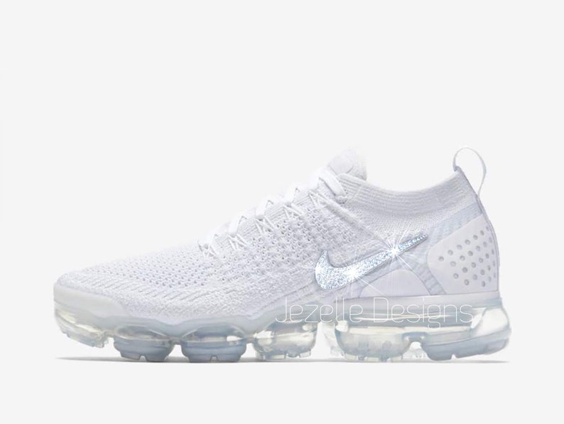 more photos 672ee 970b1 LIMITED! Swarovski Nike Women's Air VaporMax Flyknit 2 in All White -  Customized With Swarovski Crystals - Bling Nike Shoes Jezelle Designs