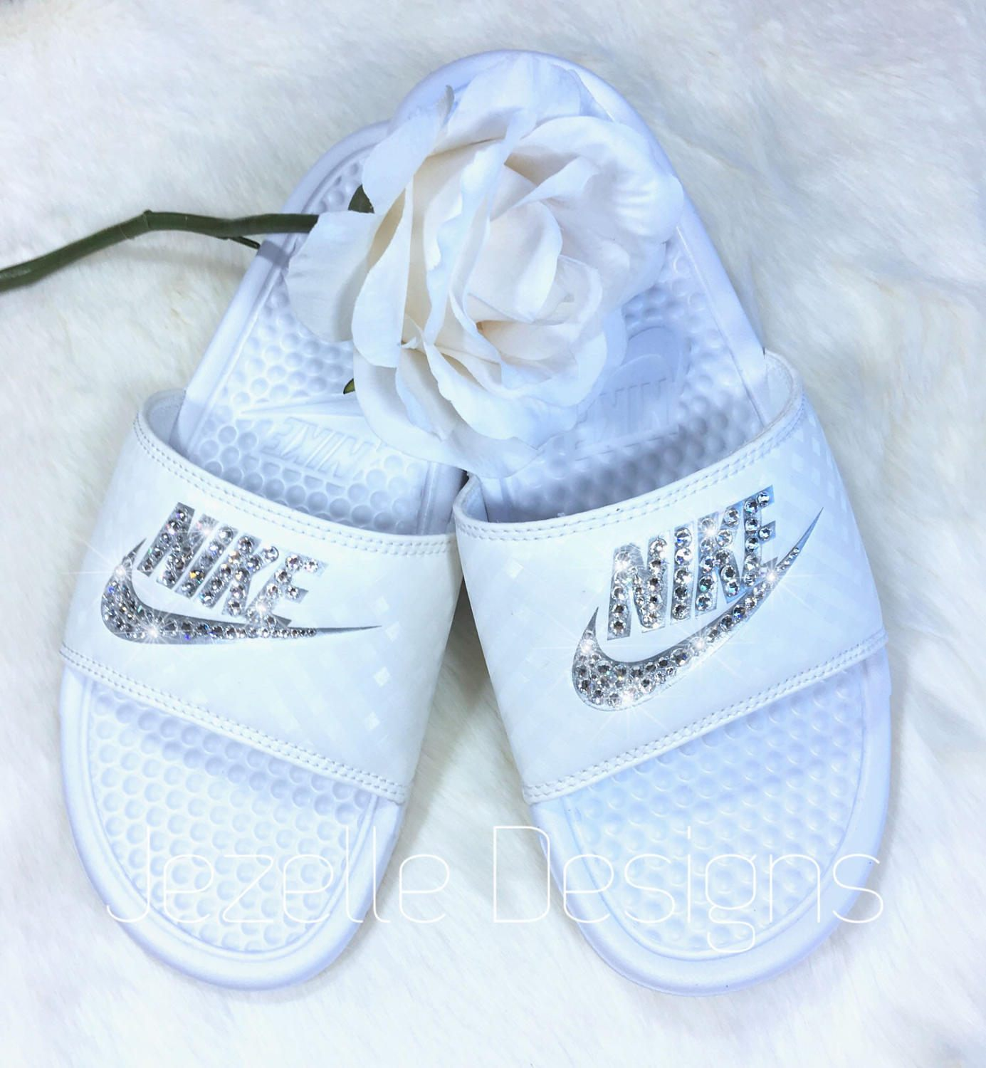 Swarovski Nike Slide Sandals Custom Hand Jeweled with Genuine ... ac2c72434