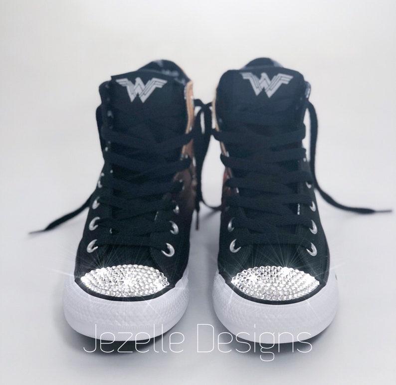 6017d0b35989ed SALE Wonder Woman Bling Converse Superhero Glitter Kicks