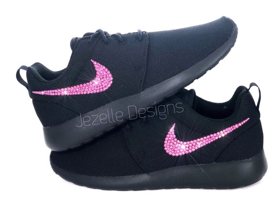 3d908d040875e HOT Pink! Bling Nike Roshe One Shoes Customized with Genuine PINK Swarovski  Crystals - Black/Black, Bright Pink Rose Crystal Swoosh Logos