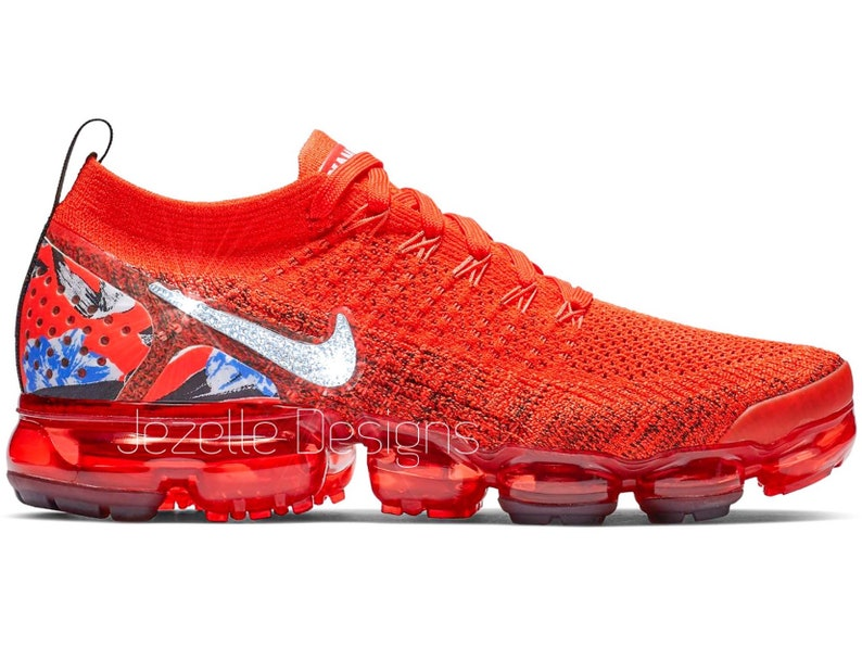 87df43ffdaf9 RED Swarovski Nike Womens Air VaporMax Flyknit 2 Customized