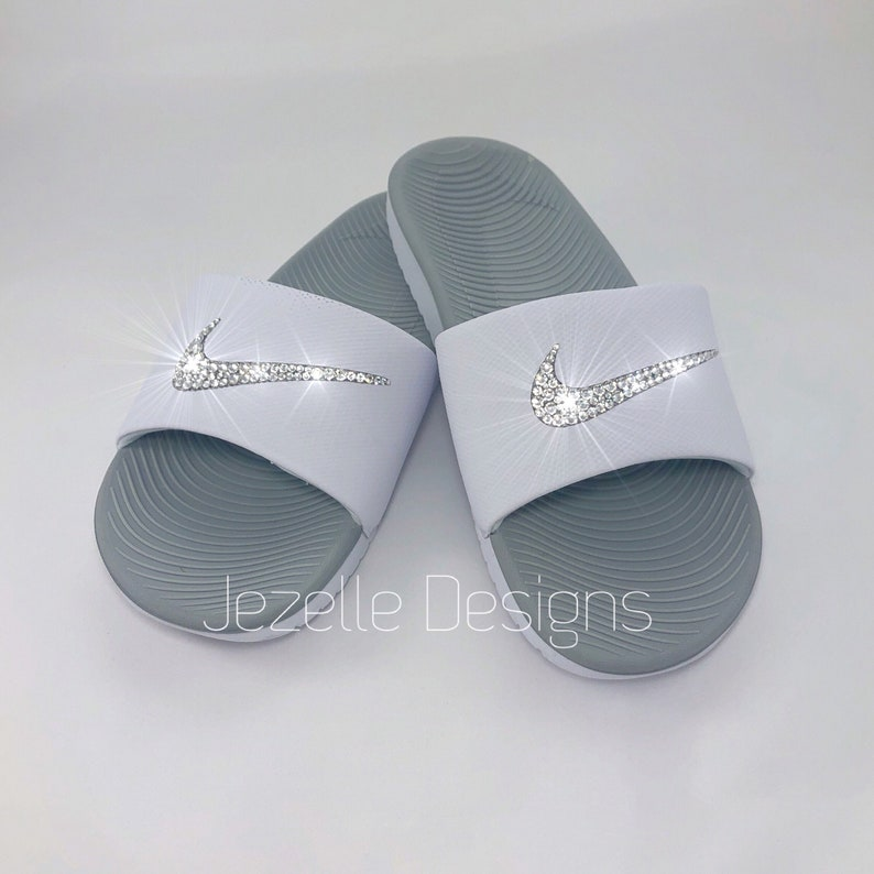 655aede63b4381 Bling Nike SolarSoft Slide Sandals Custom Hand Jeweled w
