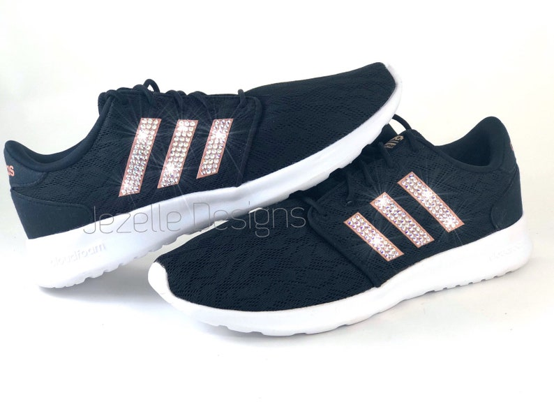 3d8e8910688a0 Bling Adidas Cloudfoam QT Racer Sneakers for Women - Custom Hand Jeweled w/  Genuine Swarovski Crystals - Rose Gold/Black - FREE SHIPPING!