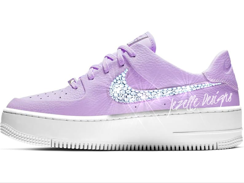 new style 2e468 479f3 Bling Nike Women's Air Force 1 AF1 Sage Low Casual Shoes in Premium  Leather, Customized w/ Swarovski Crystals, Bling Nike Shoes, Ships FREE