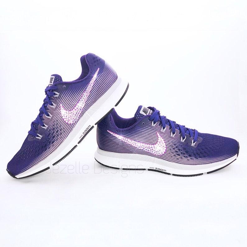 8569ab9a443 Purple Swarovski Nike Air Zoom Pegasus 34 Custom Hand Jeweled