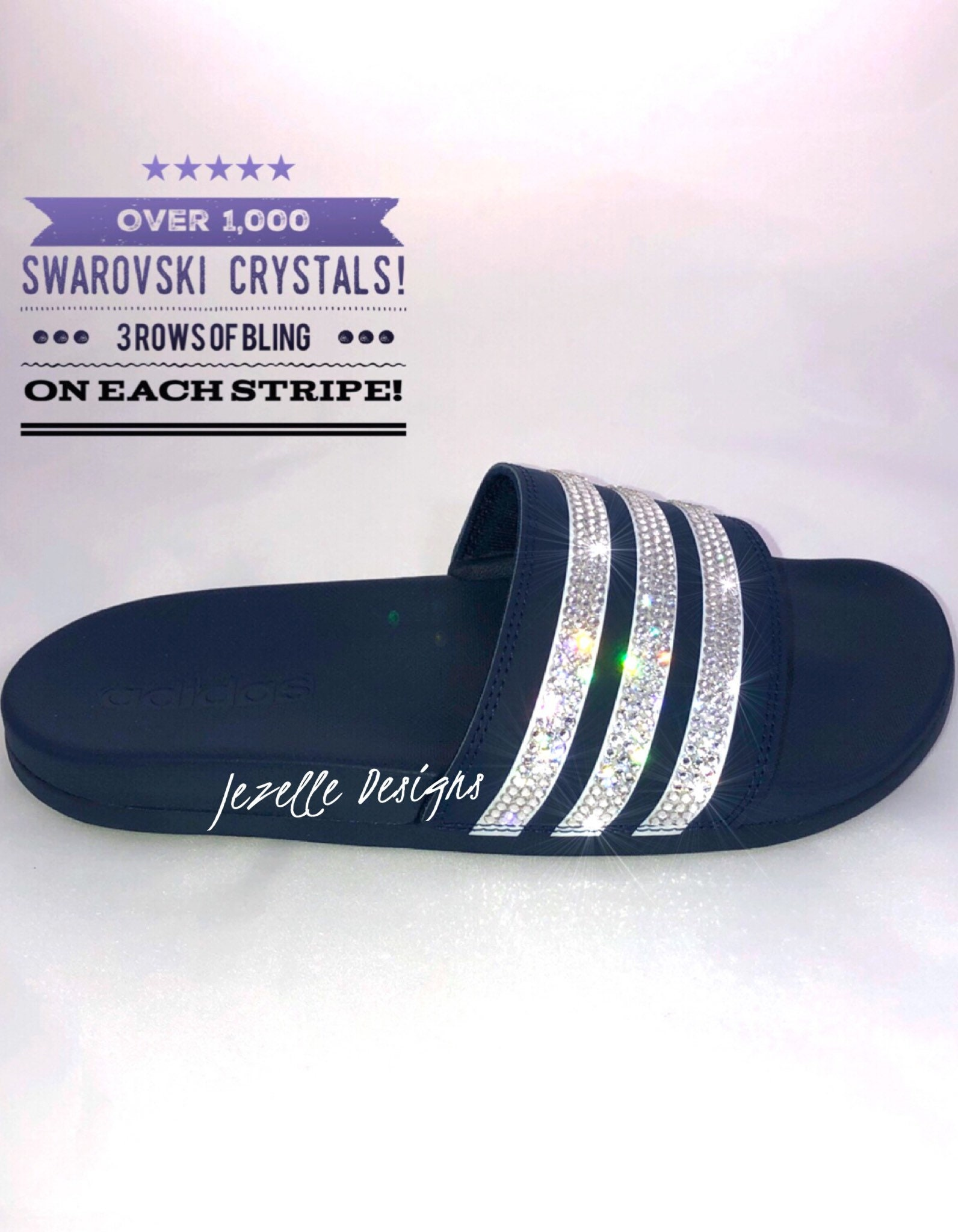 1580f78c4d027 FREE SHIPPING! Bling Adidas Slide Sandals - Super Cushy! Amazingly  Comfortable Sandals! Women's Custom Hand Jeweled w/Swarovski Crystals