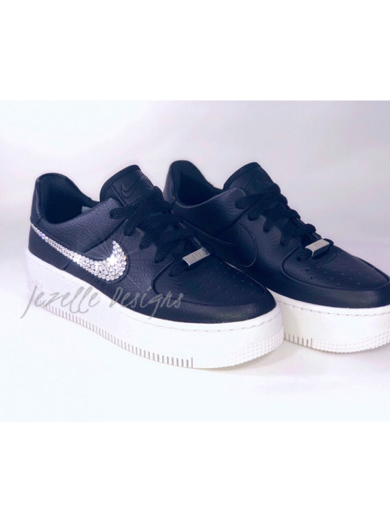 Size 7 Bling Nike Women S Air Force 1 Sage Low Casual Etsy