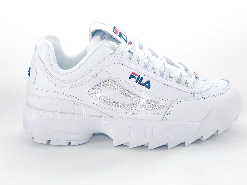 25759b466 Swarovski Fila Disruptor Premium Shoes Blinged Out with