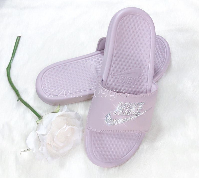 8403ae52a48424 Women s Swarovski Nike Benassi Slide Sandals Customized
