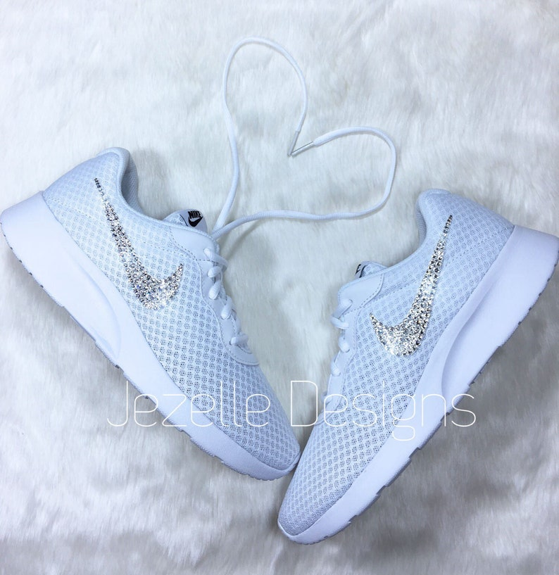 Swarovski Nike Womens Tanjun White Customized With Swarovski  b636117215