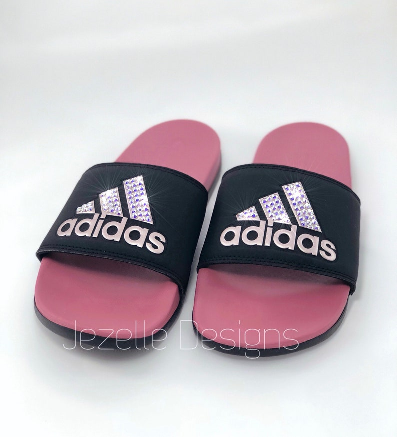 size 40 09cd5 554b6 BlackGold Adidas Slide Sandals Custom Hand Jeweled w Genuine
