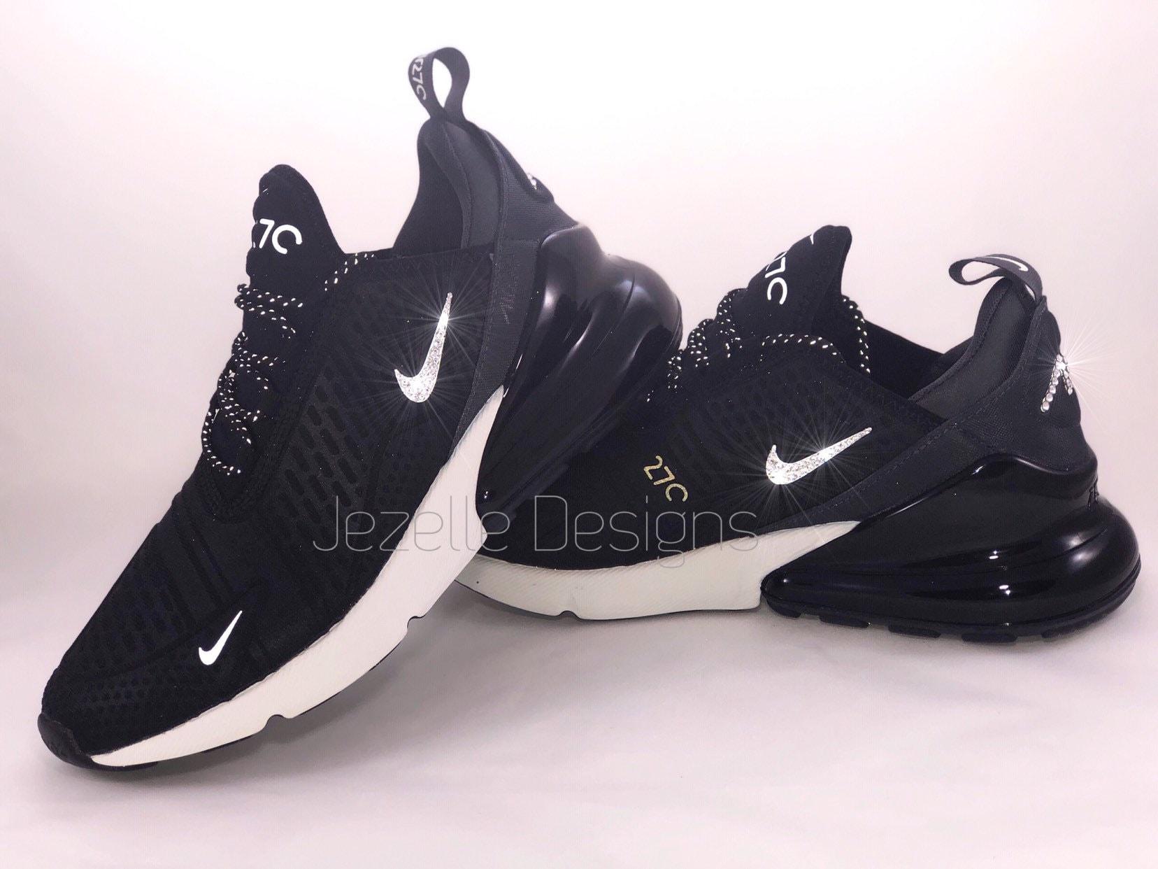 a9d28175b92517 SIZE 9.5 Swarovski Nike Air Max 270 SE Black White Hand