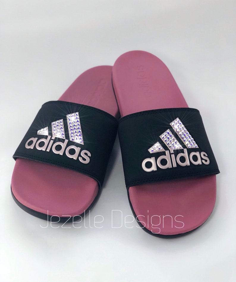 ba124f0f34f5 Swarovski Adidas Slide Sandals Custom Hand Jeweled w  Genuine