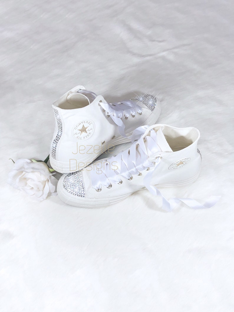 83d515368 Bling Ivory Wedding Converse Genuine Swarovski Crystals on