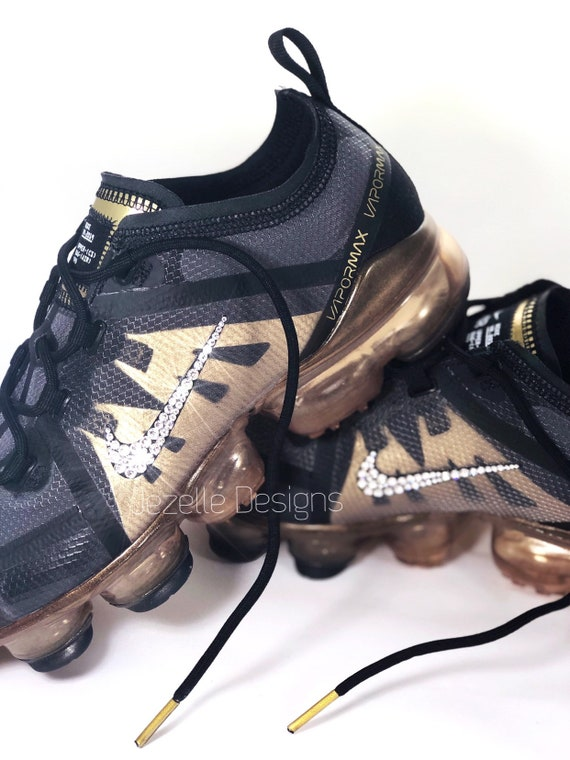 Big Kids Nike Air VaporMax 2019 Customized with Swarovski Crystals, Black and Gold Bling Nike Shoes