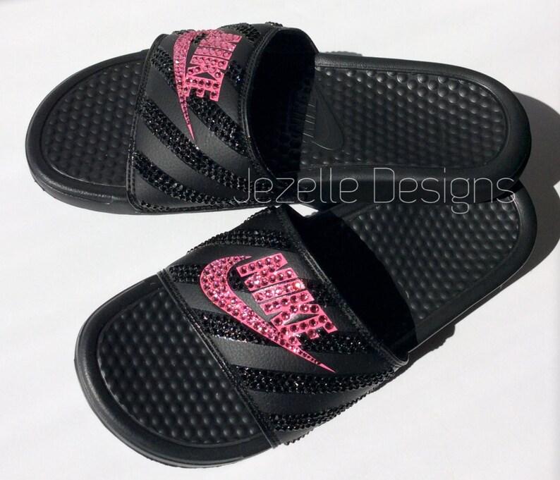 d5c0d0b103b Swarovski Nike Benassi Slide Sandals with Swarovski Crystals Bling Nike  Shoes