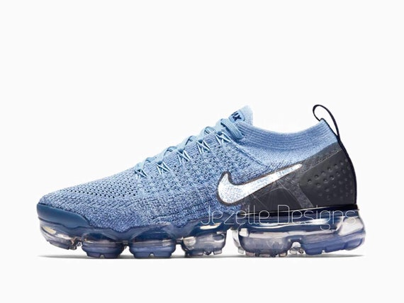 on sale 39be8 99cc8 Swarovski Nike Womens Air VaporMax Flyknit 2 in Blue Customized With  Swarovski Crystals Bling Nike Shoes