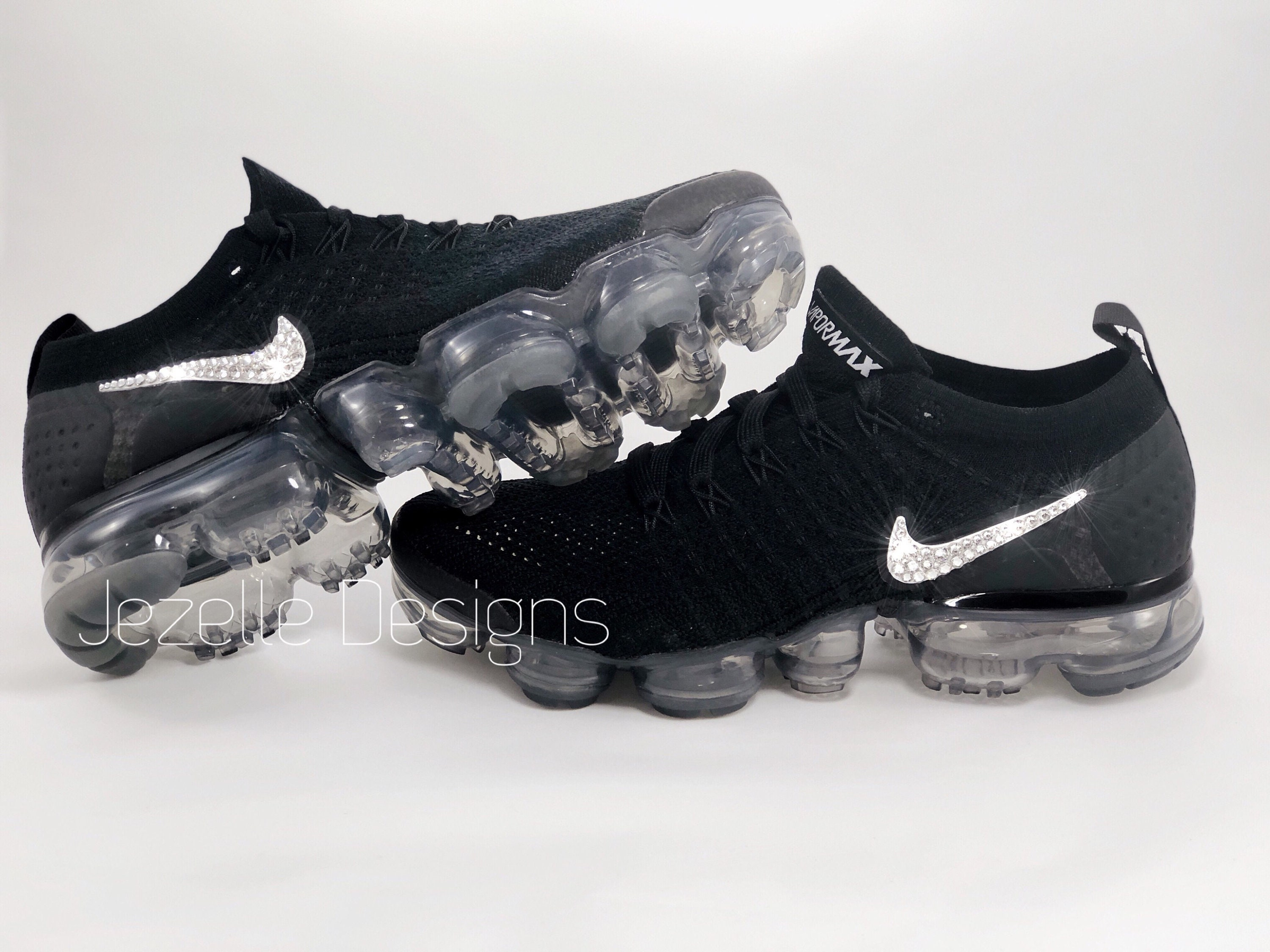 meet bd8da 42919 Swarovski Nike Womens Air VaporMax Flyknit 2 in Black Customized With  Swarovski Crystals Bling Nike Shoes