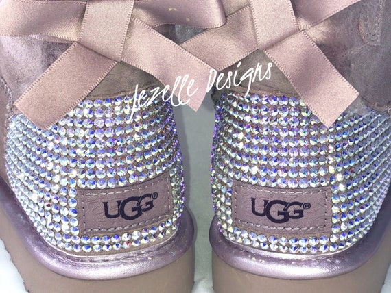 49f3b7d277c Bling Pink Uggs, Personalized Bailey Bow Uggs Custom Hand Jeweled w/ 1,300  SWAROVSKI Crystals, Authentic Womens Uggs, Gifts for her