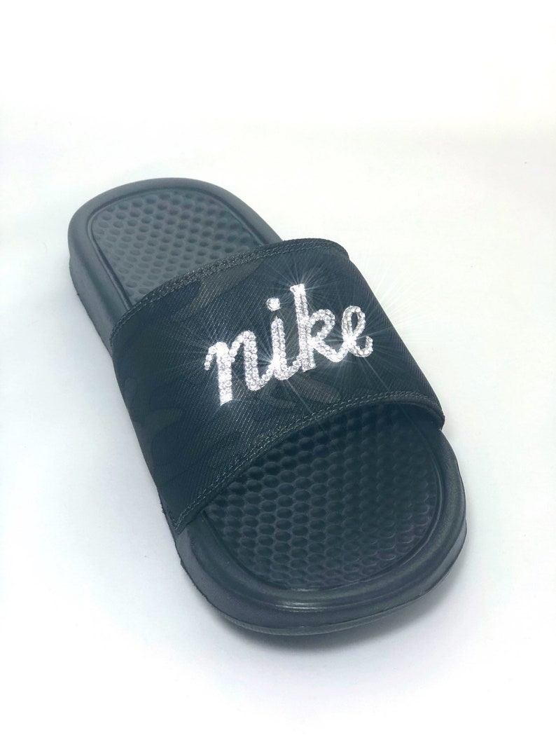 info for 84dd2 0e963 NEW Swarovski Nike CAMO Slides Nike Bling Sandals Customized   Etsy