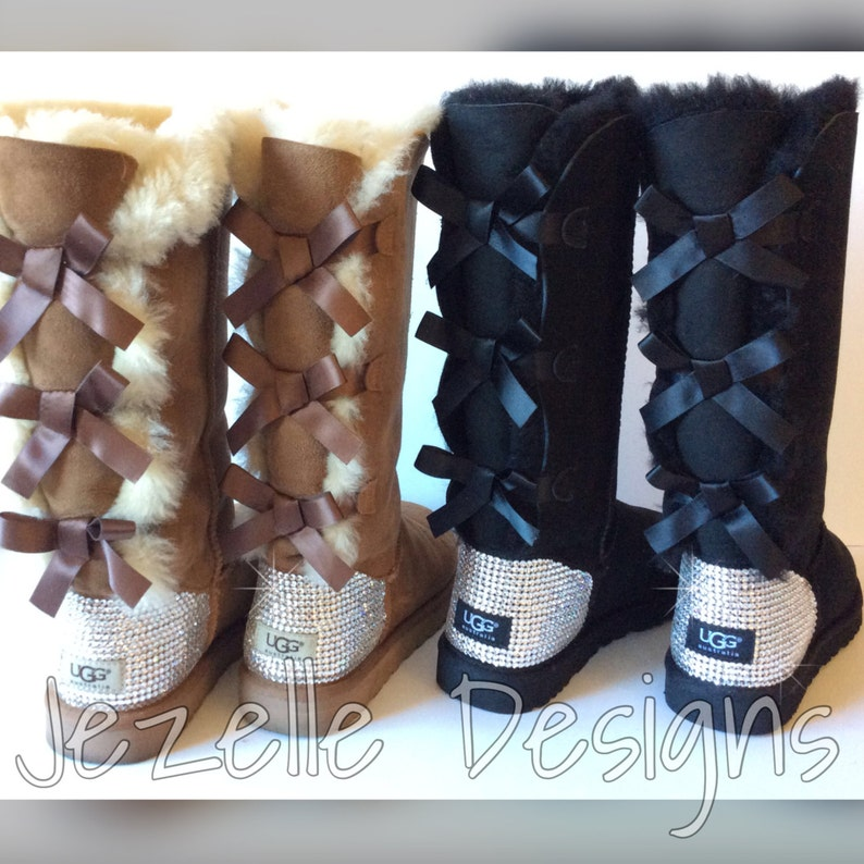 a63fd9a30b0 Swarovski Bailey BOW TALL Ugg Boots Custom Hand Jeweled w/ over 1300  SWAROVSKI Crystals, Authentic Women's Bling Uggs