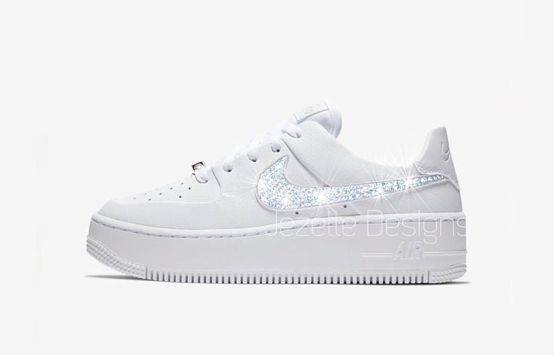100% authentic 33405 4fde2 Classic White Nike Women's Air Force 1 AF1 Sage Low, Premium Leather,  Customized w/ Swarovski Crystals, Bling Nike Shoes, Lots of New Colors