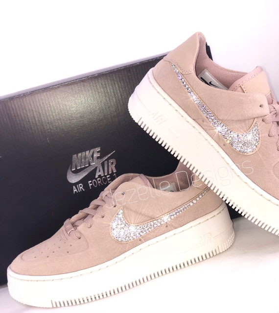 Swarovski Nike Women's Air Force 1 AF1 Sage XX Low Casual Shoes Customized With Swarovski Crystals, Bling Nike Shoes, Custom AF1