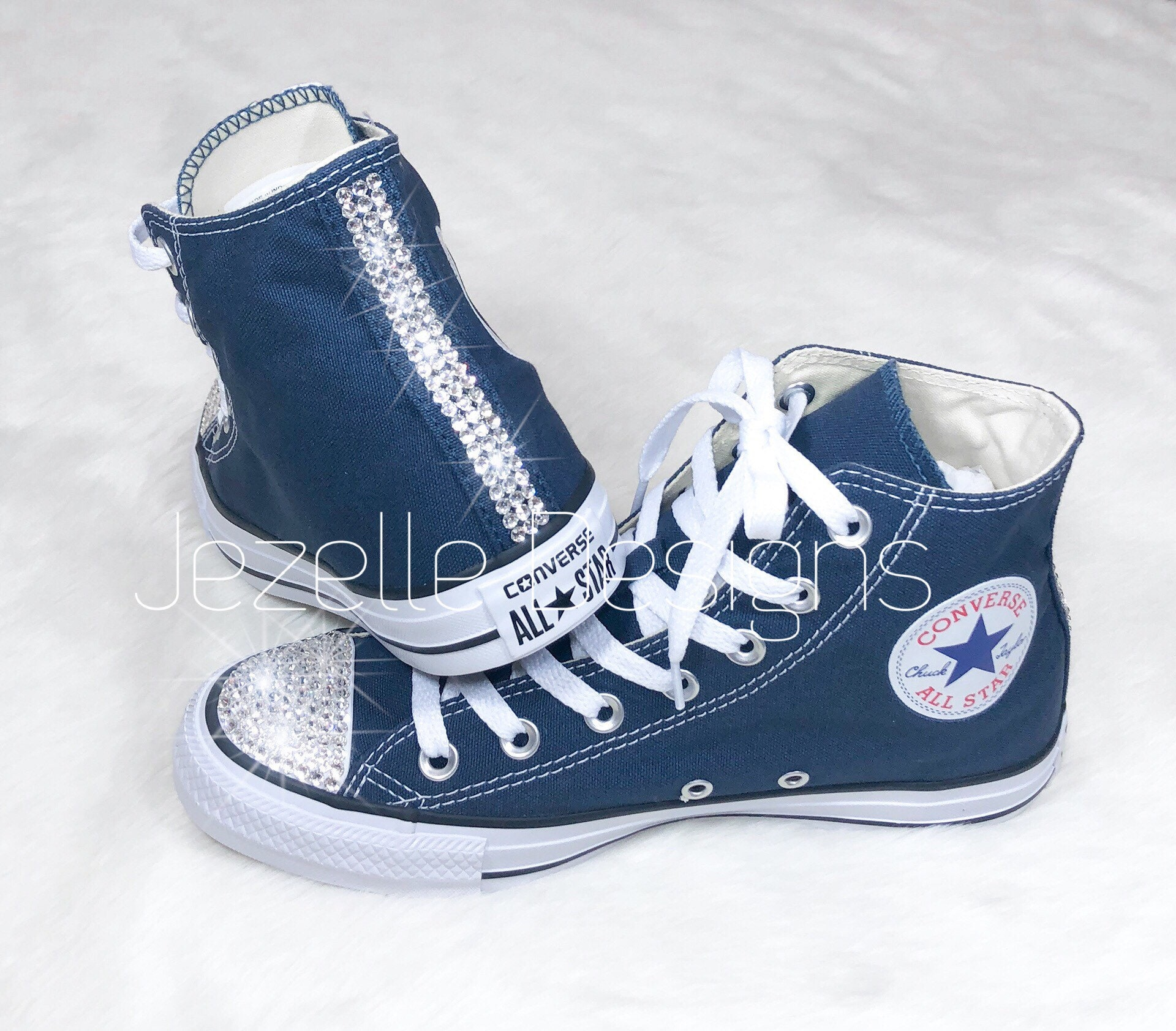 b1d5d4da5457d Swarovski Crystal Converse, Custom Hand Jeweled Bling High Top Chuck  Taylors, Bedazzled Converse Personalized Just for You, Ships FREE!